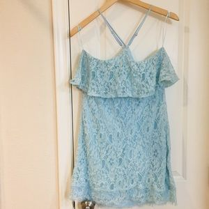 Francesca's Collections Dresses - Francescas Light Blue Lace Ruffle Flounce Dress M